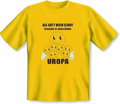 Liebes Geschenk für den Urgroßvater! T Shirt Als Gott mich schuf brauchte er einen lieben Uropa Größe 3XL Farbe gelb