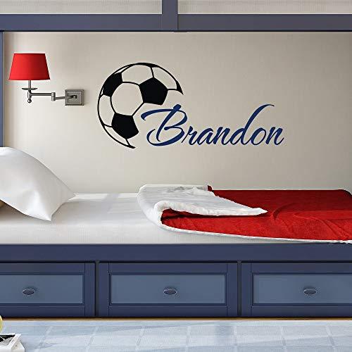 wandaufkleber 3d Wandtattoo Schlafzimmer Nach Maß kühler Fußball-Kunst-Jungen-Name mit Fußball-Ausgangskinderzimmer-Dekor-Ausgangsdekoration für Kinderschlafzimmer