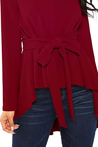 ILLI LONDON Women's Regular FIT HIGH Low Solid Blouse TOP & T-Shirt (Maroon, Medium)