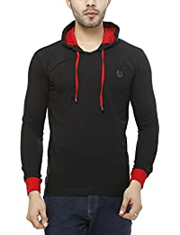 Leemarts Solid Mens Hooded Full Sleeves T-shirt With Contrast Rib And Hood