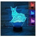 3D Der Fuchs Optische Illusions-Lampen, Tolle 7 Farbwechsel Acryl berühren Tabelle Schreibtisch-Nachtlicht mit USB-Kabel für Kinder Schlafzimmer Geburtstagsgeschenke Geschenk