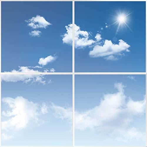 HOMEDEMO 4 in 1 Deckenleuchte LED Panel mit Himmel und Wolken Muster 60x60cm Ultraslim Modern 36W Kaltweiß 6000K Wohnzimmer Lampe mit Befestigungsmaterial und Trafo Weißrahmen