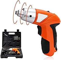 Inditradition 4.8V Smart Cordless Electric Screwdriver | Free 42 Pieces Bit Sets (Rechargeable, Orange)
