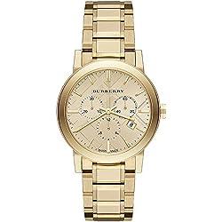 BURBERRY BU9753 - Reloj para mujeres, correa de acero inoxidable color dorado