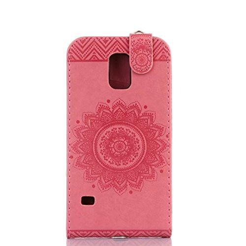 Samsung Galaxy S5 Case, vertikal Flip-Standplatz Fall geprägt Blumen Muster Leder Fall Deckung mit Wallet-Card Slots für Samsung Galaxy S5 ( Color : Light Purple , Size : Samsung Galaxy S5 ) Rose