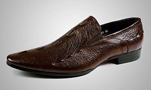 GLSHI Uomini Oxford 2017 Nuovo modello di coccodrillo strato pelle bovina scarpe Uomini Uomini Scarpe britanniche punta pelle scarpe Piedi scarpe Brown