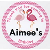 """Flamingo Design Stickers""""Thank you for coming to."""" - PERSONALISED A4 Sheet of 15 x 50mm Round Party Bag Stickers"""