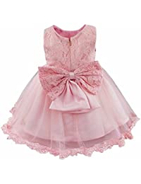 iEFiEL Baby Girls Lace Bowknot Wedding Birthday Party Princess Flower Dress  Christening Baptism Gown 3f0354c97588