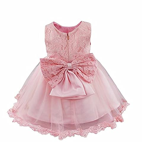 iEFiEL Baby Girls Infant Lace Big Bowknot Wedding Birthday Party Christening Princess Flower Dress Pink 6-9