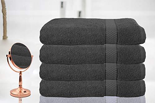 Casabella - Lot de 4 grandes serviettes de bain 100 % coton égyptien peigné, 100 % coton, gris, 4...