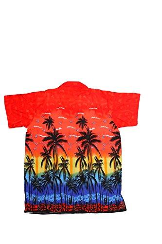 SAITARK Herren Freizeit-Hemd Mehrfarbig Bigarré Mehrfarbig - Multicolore - Rouge