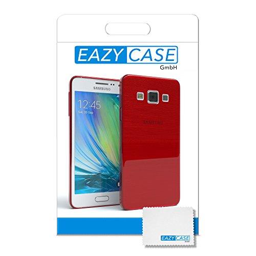 Samsung Galaxy A3 (altes Modell) Hülle - EAZY CASE Ultra Slim Cover TPU Handyhülle Matt - dünne Schutzhülle aus Silikon in Transparent / Weiß Brushed Rot