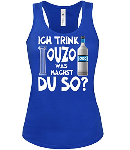 Golebros Ich Trink Ouzo was Machst du so 4923 Sauf Bier Damen Fun Tank Top Funshirt Blau M