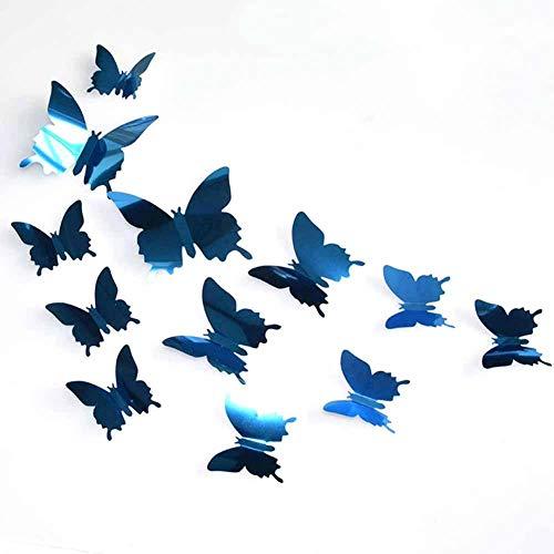 Fdit 12 STÜCKE 3D Schmetterling Spiegel Wandtattoo Aufkleber Decor für Wohnzimmer Home Art Dekoration(blau)