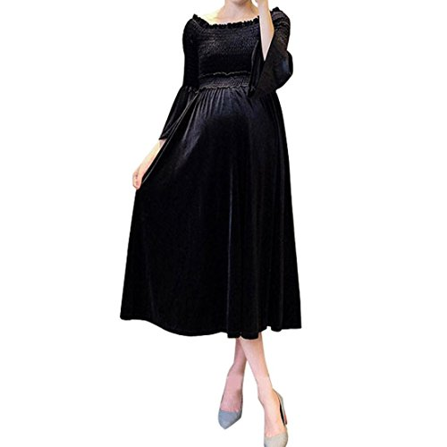 Bekleidung Kleid AMUSTER Damen Schwangere Kleid Schwangerschafts Kleidung Sexy Aus Schulter Maxikleid Lange Kleid Schwanger Kleid Mode Drucken Samt Schwangerschafts Kleid (M, Schwarz) (Rose Schulter)