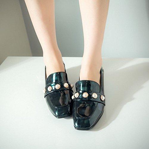 Mee Shoes Damen chunky heels vierkant Perle Dekoration Pumps Grün