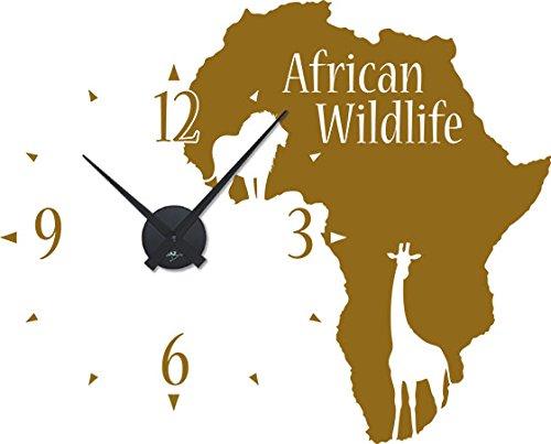 GRAZDesign Wanduhr African Wildlife - Wandtattoo mit Uhrwerk Kontinent Umriss - Uhren Wand Tattoo Afrika Tiere / 71x57cm / 800534_BK_092