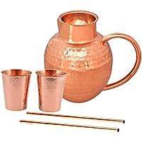 Jarra de agua de cobre con 2 vasos de cobre, 1 bandeja de cobre y
