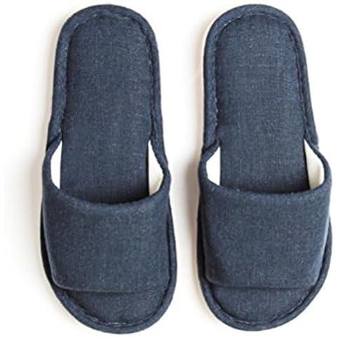 ZHLONG Infradito uomo al lino casa in pantofole antiscivolo interno , navy blue , large - Navy Blue Slittamento