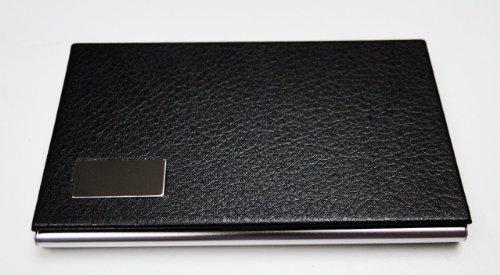 OrangeTag Business Name Card Holder Steel Leather Wrap Case - Black by OrangeTag
