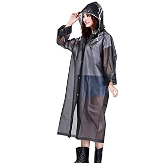 AMSS Quality Smooth Soft translucent Plastic PVC Vinyl Hooded Raincoat Womens Mens Unisex Waterproof Full Length Coat