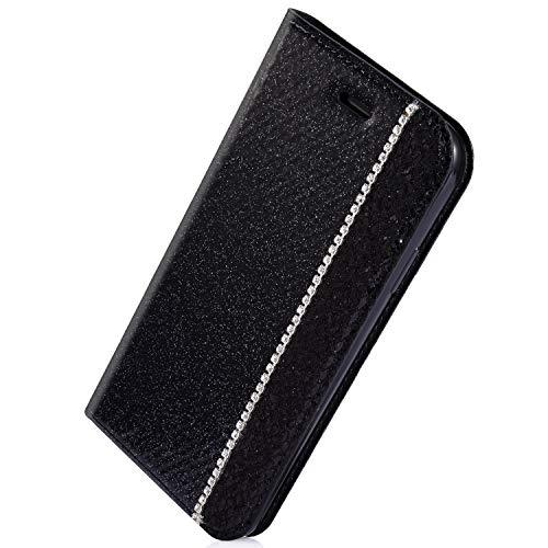 Herbests Kompatibel mit Samsung Galaxy S7 Handyhülle Handy Schutzhülle Glänzend Kristall Strass Diamant Lederhülle Leder Tasche Wallet Handytasche Klapphülle Flip Case Cover,Schwarz