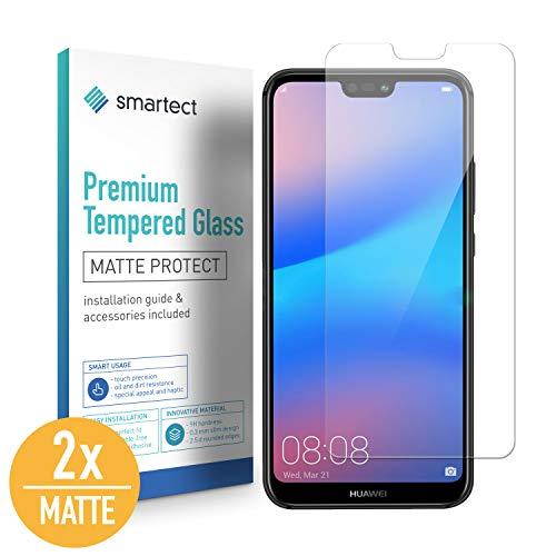 SmarTect [2X Mat Protector de Pantalla de Cristal Templado para Huawei P20 Lite Lámina Protectora Ultrafina de 0,3mm | Vidrio Robusto con Dureza 9H y Antihuellas Dactilares
