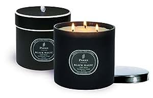 Parks London Black Magic Bougie naturelle Cèdre, Vétiver, Patchouli, Bois de santal, Orange & Clou de girofle Verre noir/Couvercle nickel 900 g Coffret cadeau