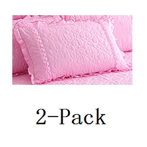 hxxkact Bettrock tagesdecke rüschen,Tagesdecke Spitze Baumwolle Bettüberwurf 17.7 Zoll Fallen Dekoration Für Schlafzimmer-Rosa Kissenbezug