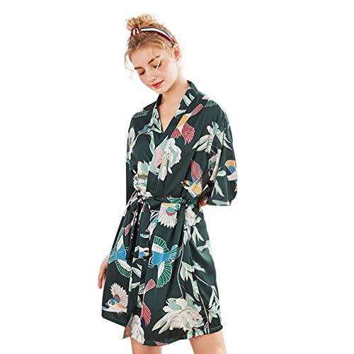 MEMIND Frau Pyjamas Frühling und Sommer Ärmel große Größe Nachtkleid Bademantel Startseite Kleidung Kimono Brautjungfer Hochzeit große Größe Morgenkleid,Red,XXL