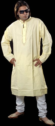 Exotic India Plain Yellow Kurta Set with Embroidery on Button PaletteGarment Size 42