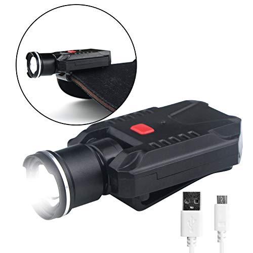 FISHNU 500 LM Clip-on Hut Licht, USB wiederaufladbar, LED Kappe, kein roter Ring und Aluminium-Legierung, Zoom-Kopf, Baseball-Lampe, fest Clip Design