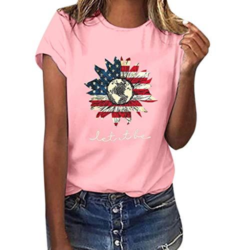 SHE.White Tag Der Unabhängigkeit Kurzarm Tops Damen Flagge Sonnenblume Drucken T-Shirt Sommer Casual Loose Blusen Strand Urlaub Lose Tunika