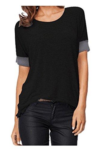 Kurzarm T-Shirt Lose O-Ansatz Bunt Stretch ModeTops (Damen Schwarz Jeans Abgeschnitten)