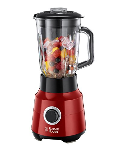 Russell Hobbs 24720-56 Glas-Standmixer Desire, Impuls-/Ice-Crush-Funktion, 0.9 PS-Motor, 22000 U/min, 1.5 l, rot/schwarz