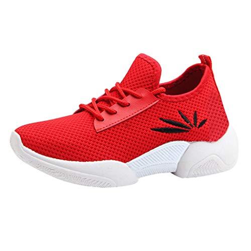 Bovake Damen Freizeit-Sportschuhe, atmungsaktiv, für den Außenbereich, rutschfest, weiche Sohle, Schnürung, Laufschuhe, Rot - rot - Größe: 39 EU