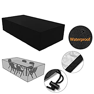Befied Outdoor Garden Large Furniture Protective Cover Waterproof Folding Patio Table and Chair Cover Square/ Rectangular 250 x 250 x 90cm/ 315 x 160 x 74cm【UK STOCK】 (315 x 160 x 74cm)