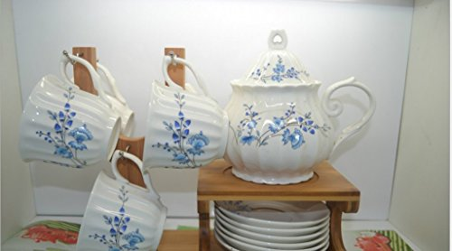 Cookware company Tea set,coffee set bone China, 6 Pieces Set13 pieces The butterfly lingers over the flower Printed Ceramic Porcelain Tea Cup Set With Lid And Saucer,Bamboo holder is included Bone China Flower