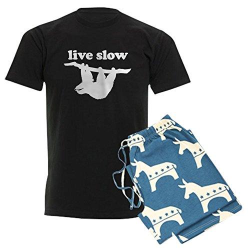 CafePress–Live Slow Faultier Schlafanzüge–Unisex Neuheit Baumwolle Pyjama Set, bequemen PJ Nachtwäsche Gr. XX-Large, With Democrat Pant (Pj Flanell Set Baumwolle)