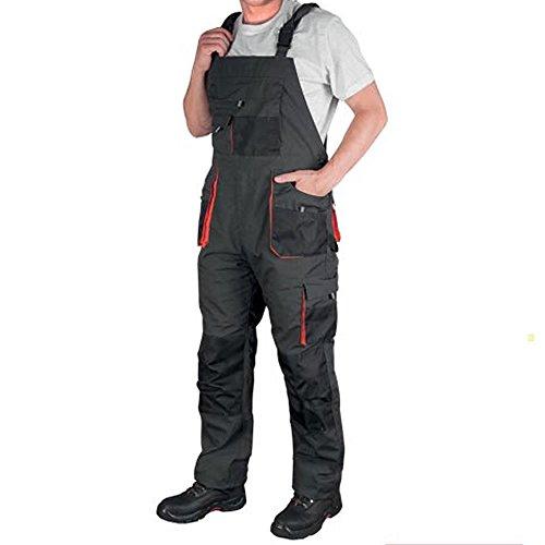 Herren-Latzhose, Arbeitshose, gepolsterte Knie, mehrere Taschen Gr. 56 (30-32 Taille), Steel Grey & Black With Orange Trim