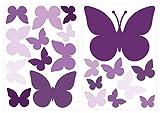 dekodino® Wandtattoo Schmetterlinge Violett Wandsticker Deko Set