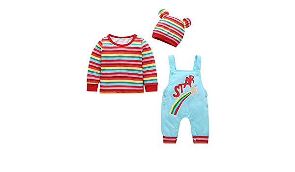 Boys Outfits Set,Zerototens Toddler Kids Clothes Set Rainbow Stripe Crewneck Short Sleeve T-Shirt Tops Straps Overall Jeans Set Summer Children Dungarees Set