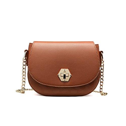 DHFUD Damen PU Schultertasche Handtasche Crossbody Persönlichkeit Mini Fashion Brown