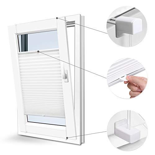 Plissee Faltrollo ohne Bohren mit Klemmträger(90 * 220,weiss) Blickdicht Sonnenschutz Sonnenschutzrollo Fensterrollo...