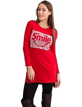 LustyChic - Camiseta de manga larga - Cuello redondo - para mujer