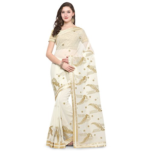 BND Fashions off white women Georgette Saree with Blouse Piece