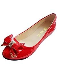 ce962d1b1cc Culater® Manoletinas Mujer Zapatos Pumps Cerrados Bailarina clásico  Pajarita del talón ...