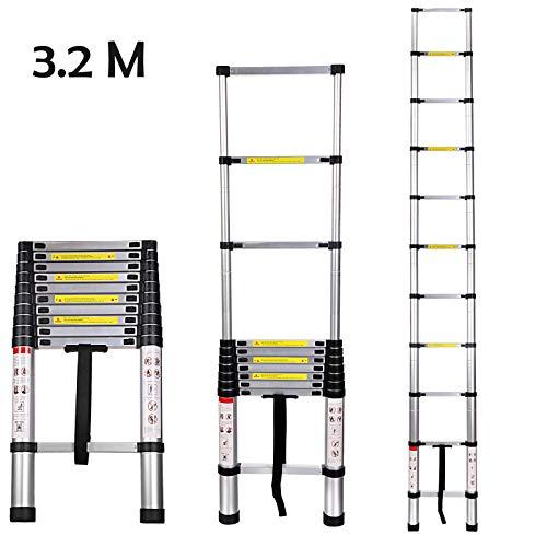 Buyi-World Escalera telescópica 3.2M de aluminio Carga hasta 150 KG, escalera plegable portátil extensible...