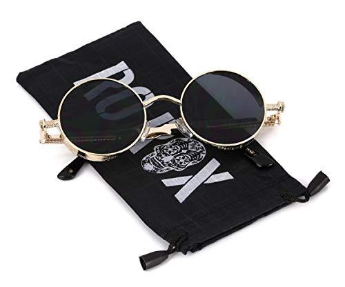 Ro Rox Damen Herren Steampunk Retro Runde Sonnenbrille - Schwarz - Gold