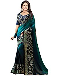 Arohi Designer Silk & Georgette Embroidered Saree With Blouse Piece (Navy Blue-Free Size)